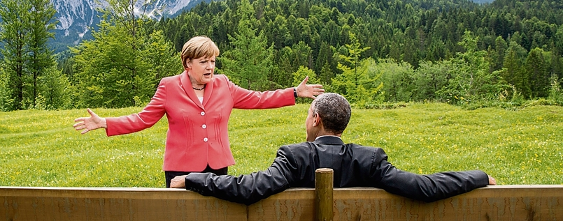 Angela Merkel und Barack Obama in Elmau am 8 Juni 2015.