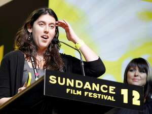 US director Alison Klayman accept the U.S. Documentary Special Jury Prize for Spirit of Defience for the movie 'Ai Weiwei: Never Sorry' at the Sundance Film Festival award ceremony. Foto: dpa