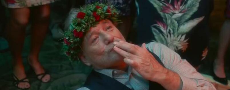"Mit Blumen bekränzt. Bill Murray in ""Aloha""."