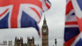 Rule Britannia: Flaggen vor dem Parlament in London.