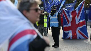 Brexit-Demonstranten vor dem Parlament in London.