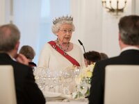 Queen Elizabeth II. during her State Banquet Speech in Berlin.