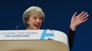 Goodbye, EU: Theresa May am Sonntag beim Parteitag der Konservativen in Birmingham.