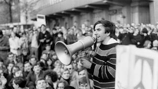 Rudi Dutschke bei einer Demonstration 1967 in West-Berlin.