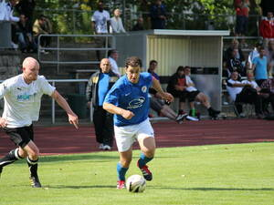 Türkiyemspor captain Fatih Aslan (right) scored the winner in Sunday's game against Mahlsdorf.