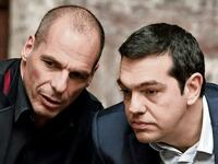 Greek Prime Minister Alexis Tsipras (R) and Finance Minister Yanis Varoufakis talk during the first round of a presidential vote at the Greek parliament in Athens, Greece in this February 18, 2015 file photo. To match Special Report EUROZONE-GREECE/TSIPRAS REUTERS/Alkis Konstantinidis/Files