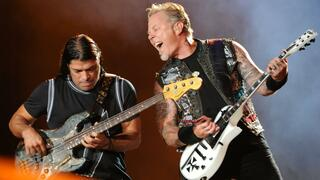Musiker Robert Trujillo (l.) und James Hetfield von Metallica.