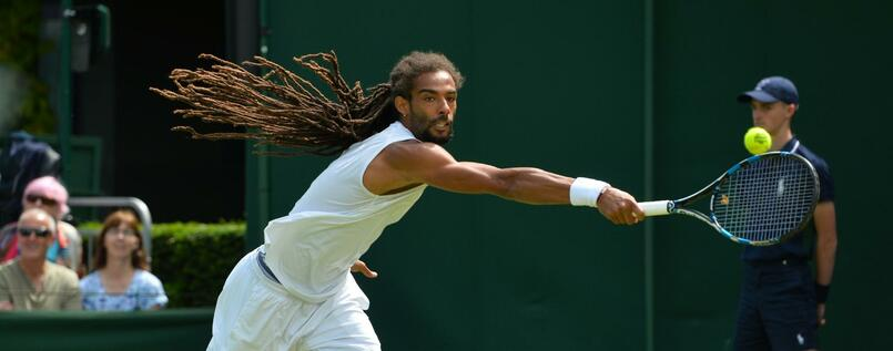 Dustin Brown beim Match in Wimbledon.