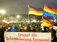 Demonstranten des Pegida-Ablegers Hagida in Hannover.