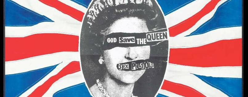 """God Save the Queen"". Mit diesem Poster machte Jamie Reid 1977 Promotion für die Punkband Sex Pistols."
