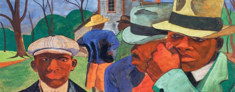 "Schwarzbunt. Der Maler Romare Bearden, Jahrgang 1911 malte ""After the church"" 1941."