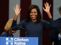 First Lady Michelle Obama spricht in New Hampshire.