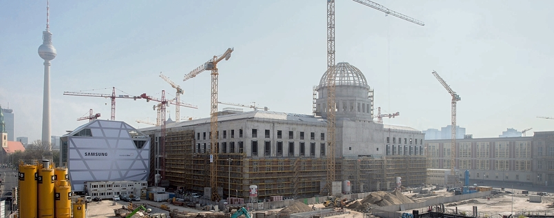 Die Baustelle des Humboldt-Forums in Berlin im April 2016.
