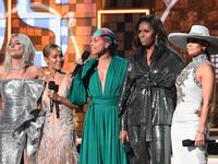 Lady Gaga, Jada Pinkett Smith, Alicia Keys, Michelle Obama und Jennifer Lopez bei der 61. Grammy-Verleihung.