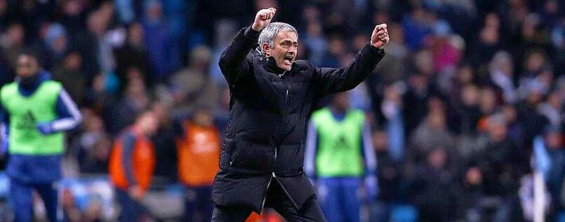 Mourinho celebrates. The win over City certainly massaged his ego.