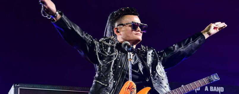 Alibaba founder Jack Ma performs on the stage during Alibaba s 20th anniversary gala at Hangzhou Olympic Center Stadium on September 10, 2019 in Hangzhou