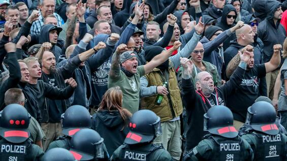 Demonstranten Ende August 2018 in Chemnitz.