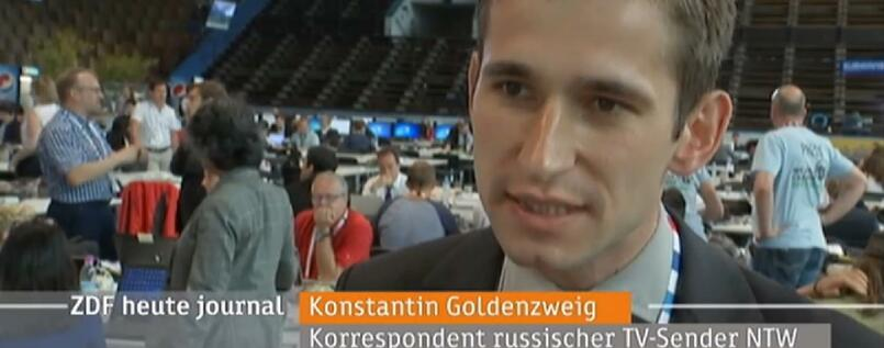 "Der russische Journalist Konstantin Goldenzweig im Interview im ""heute-journal"""
