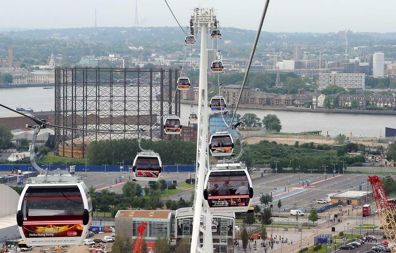 New London Cable Car Across Thames