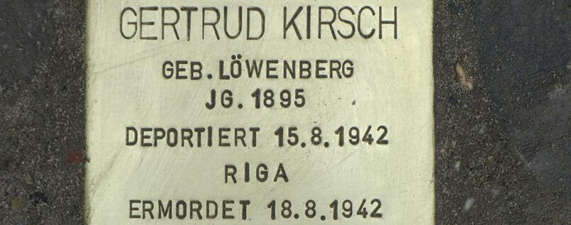 The Stolperstein in Wilmersdorf dedicated to Gertrud Kirsch was laid in April 2013.