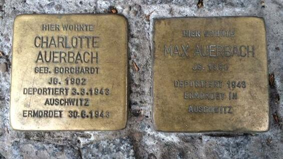 Stolpersteine in memory of Frank Auerbach's parents Charlotte and Max Auerbach who were killed by the Nazis. These stones are laid in front of Güntzelstraße 49 in Berlin's Wilmersdorf district, where Frank and his parents lived in the 1930s.
