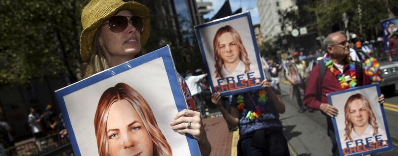 Demonstration für Chelsea Manning