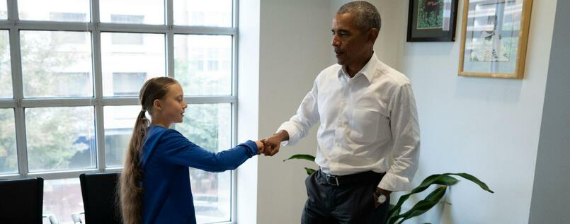 "Former US President Barack Obama (R) meets with Swedish Environmental activist Greta Thunberg at the Obama Foundation headquarter in Washington DC on September 16, 2019. - Thunberg will attend the Youth Climate Summit at the UN in New York on September 21, followed by the UN Climate Action Summit on September 23 convened by the Secretary-General Antonio Guterres to find ways for countries to reduce their greenhouse gas emissions in line with the Paris Agreement. (Photo by - / various sources / AFP) / RESTRICTED TO EDITORIAL USE - MANDATORY CREDIT ""AFP PHOTO / THE OBAMA FOUNDATION"" - NO MARKETING - NO ADVERTISING CAMPAIGNS - DISTRIBUTED AS A SERVICE TO CLIENTS"