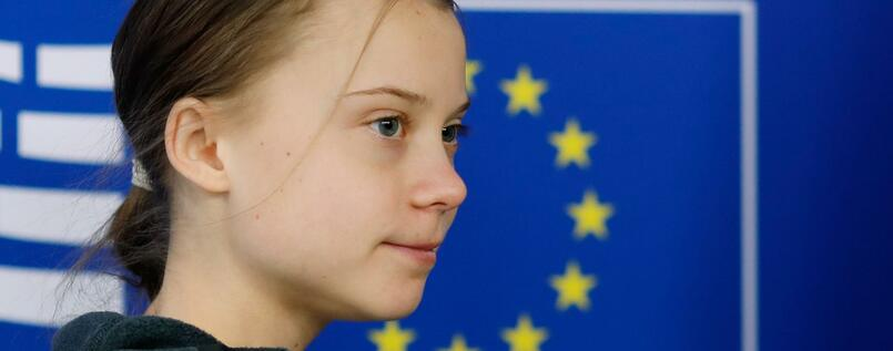 "Swedish climate activist Greta Thunberg arrives at the European Parliament in Brussels on March 4, 2020, on the day the European Union unveils a landmark law to achieve ""climate neutrality"" by 2050. - The Swedish eco-warrior, who is in the Belgian capital for a March 6 protest, attended a meeting of European Commissioners, the top EU officials who will greenlight the draft law, and will appear before a European Parliament committee. (Photo by KENZO TRIBOUILLARD / AFP)"