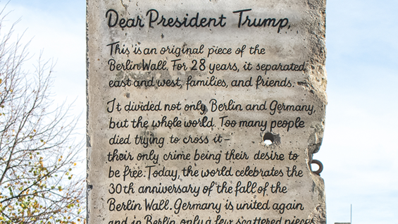 """We would like to give you one of the last pieces of the failed Berlin Wall"""
