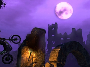 "Spring' den Mond an: Spielszene aus ""Trials Evolution"". Screenshot: RedLynx"