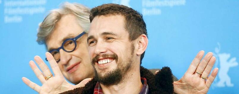 "Wim Wenders und James Franco vor der Pressekonferenz zu dem Film ""Every Thing will be fine""."