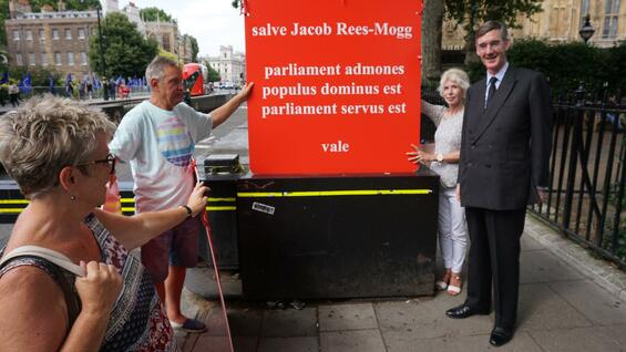 Sally Wright und Brexit-Hardliner Jacob Rees-Mogg.
