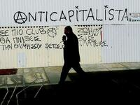 Ein antikapitalistisches Graffiti in Nikosia. Foto: dpa